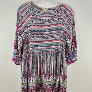 💘 Entro Tribal Print Baby Doll Boho Tunic Dress S